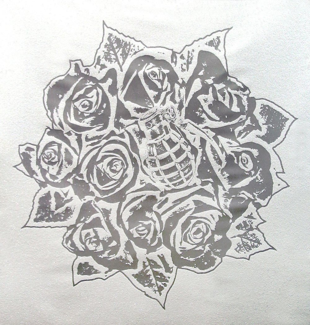 Rose Bouquet White on Silver , SilkScreen/Hand Painting/DiamondDust, Ed.: 3, 45 x 45 in, 2016