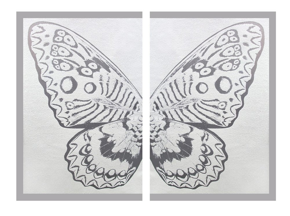 Hybrid Diptych Silver Butterfly II on white , SilkScreen/Hand Painting/DiamondDust, Ed.: 3, 53 x 34 in, overall 53 x 68 in, 2016.