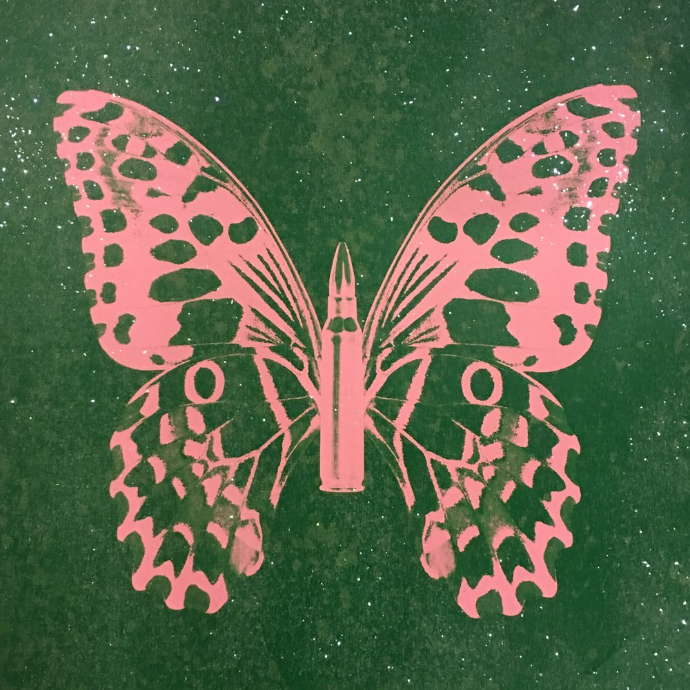 Pink Butterfly on Green Sand , SilkScreen/Hand Painting/DiamondDust, Ed.: 5, 24 x 24 in, 2013.