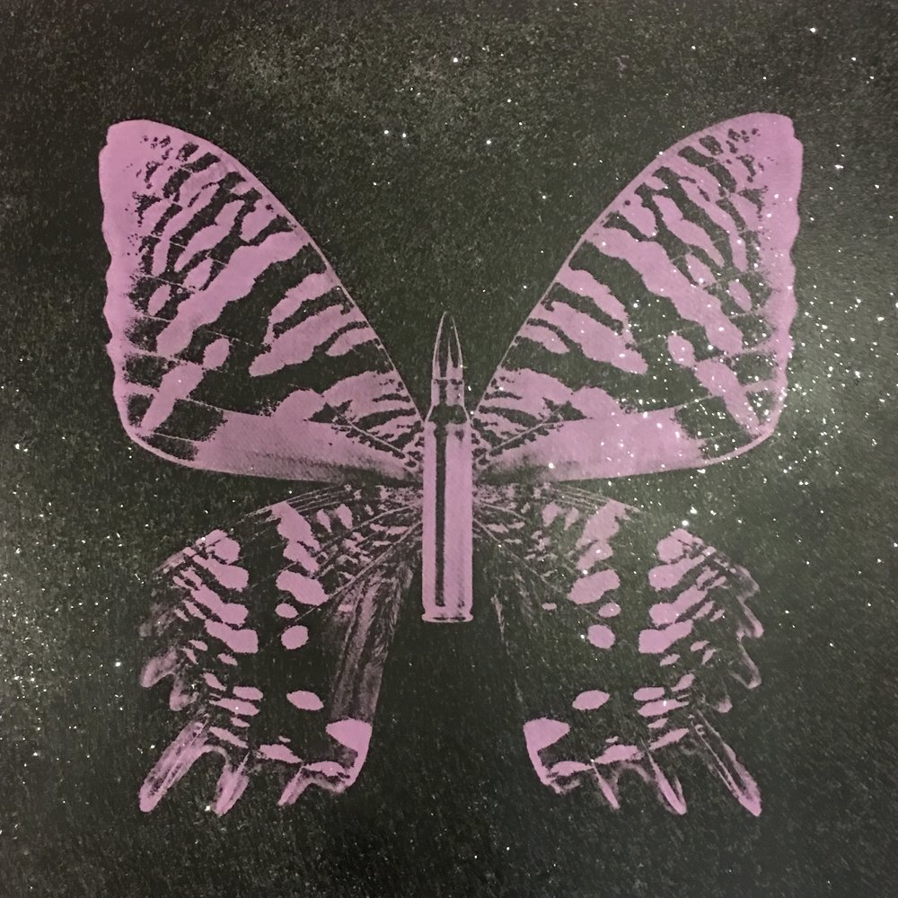 Purple Butterfly on Black Sand,  SilkScreen/Hand Painting/DiamondDust, Ed.: 5, 24 x 24 in, 2016