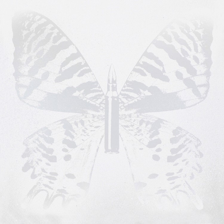 Silver Butterfly on White III , SilkScreen/Hand Painting/DiamondDust, Ed.: 5, 38 x 38 in, 2013.