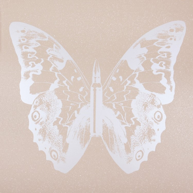 Pearl Butterfly on Pink Sand II , SilkScreen/Hand Painting/DiamondDust, Ed.: 5, 38 x 38 in, 2013.