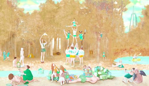 "The Park   Digital duraflex-print, 180"" x 34.5"", 2010."