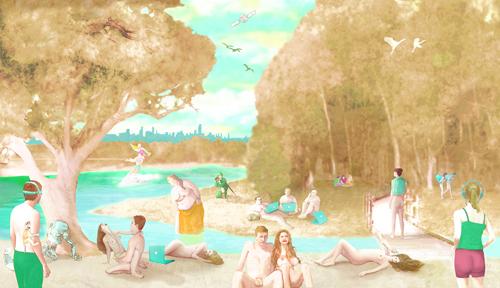 "The Park   Digital duraflex-print, 180"" x 34.5"", 2010"