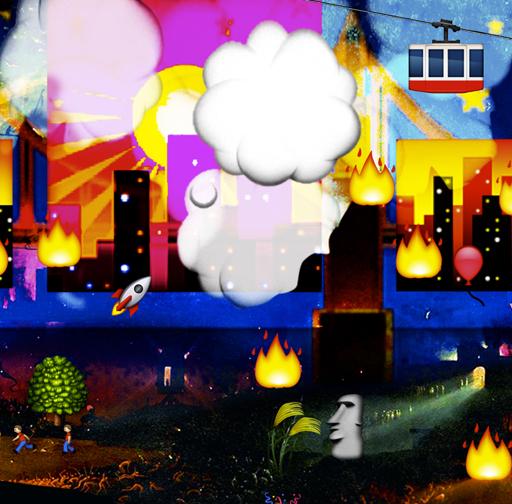 The Garden of Emoji Delights (Detail Image 5)   Digital pigment print, 8.5 x 21 in, 2013.