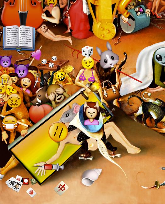 The Garden of Emoji Delights (Detail Image 4)   Digital pigment print, 8.5 x 21 in, 2013.