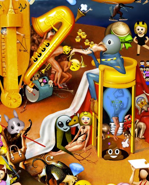 The Garden of Emoji Delights (Detail Image 3)   Digital pigment print, 8.5 x 21 in, 2013