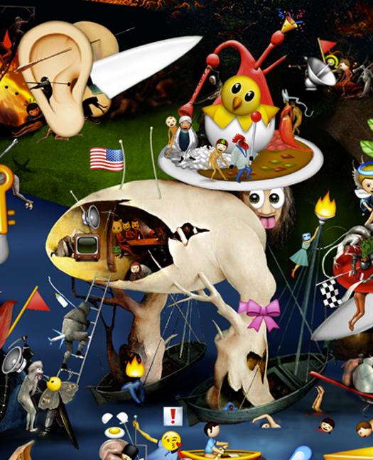 The Garden of Emoji Delights (Detail Image 2)   Digital pigment print, 8.5 x 21 in, 2013.