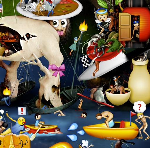 The Garden of Emoji Delights (Detail Image 1)   Digital pigment print, 8.5 x 21 in., 2013.