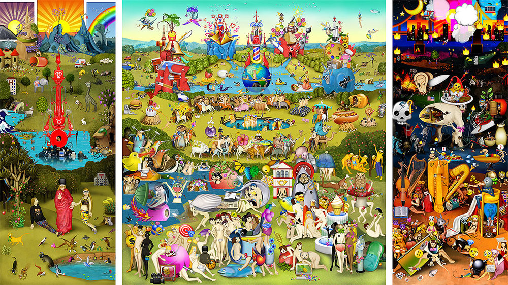 The Garden of Emoji Delights   Digital pigment print, 8.5 x 21 in., 2013.