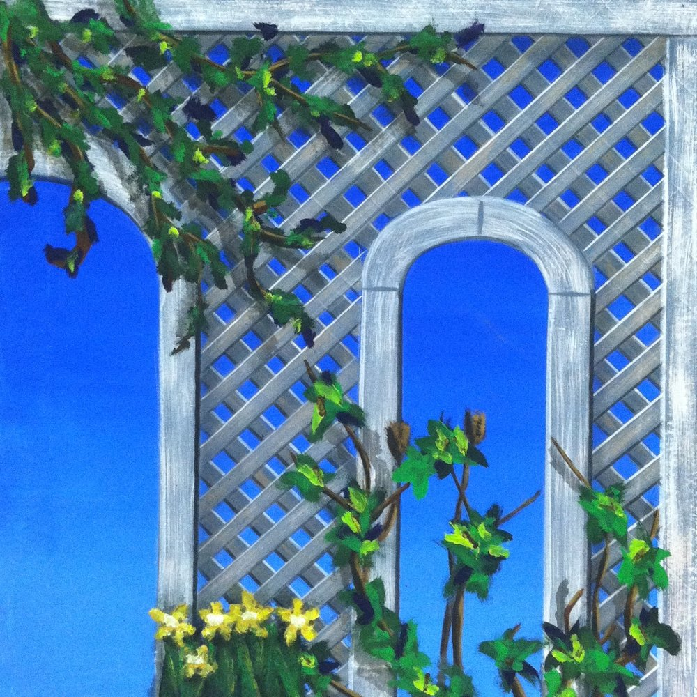 Lattice and Plants Paint Sample, 3'x3'