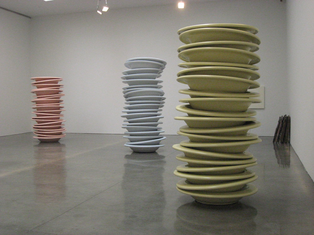 Robert Therrien  Stacked Plates 2004  Plastic  94 x 54 x 54 inches