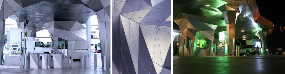 """Beyond Petroleum Helios House 2007 Stainless steel clad canopy structure with RFP reinforcement: 1,693 panels 110'-9"""" x 46'-7"""" x 23'-7"""" Los Angeles, California"""