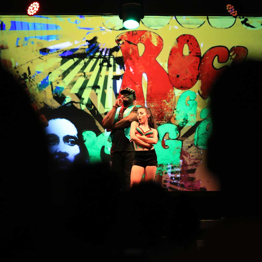 Reggae Night is fun to watch or participate in. Know this: Volunteering to go on stage means that you're joining a dance contest.