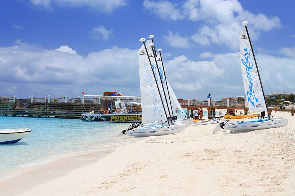 The Caribbean Village pier is a hub for watersports and excursions at Beaches Turks & Caicos.