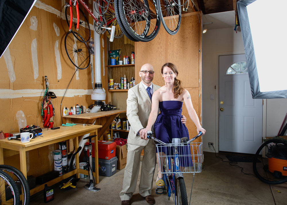 Mike & Renee with Renee's vintage Schwinn for the My Favorite Bike Portrait Series.