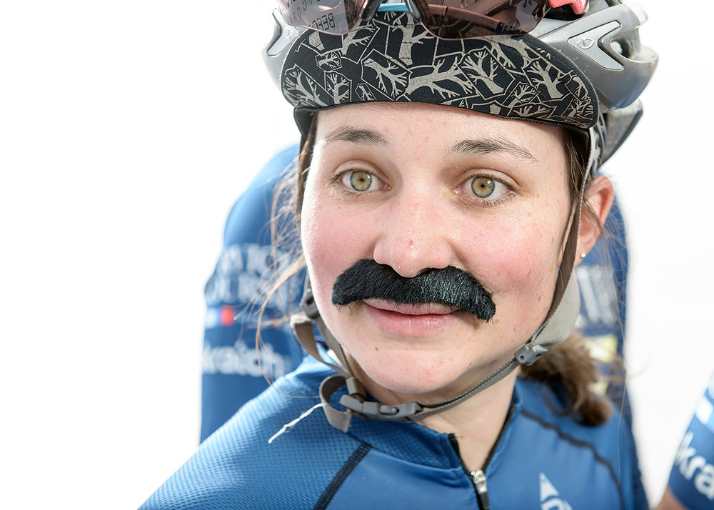 Liz. Before.  Cyclocross racer and Movember supporter from the Before. After. Photo Booth.