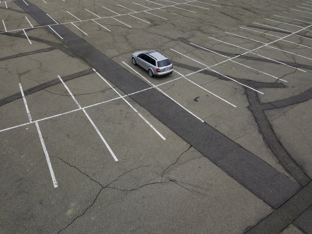 Parking Lot Nazca Lines and an Audi A4 Avant.