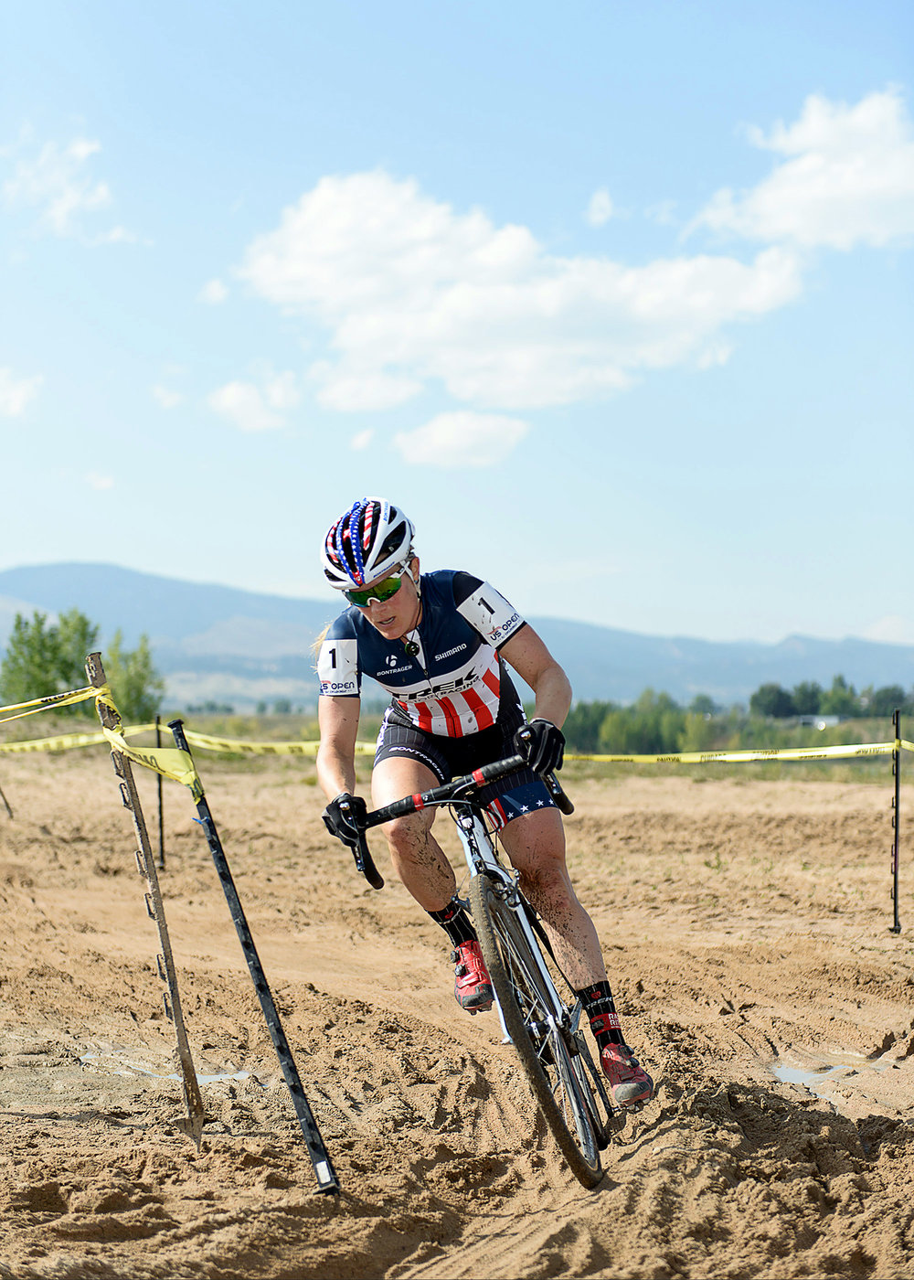 National Cyclocross Champion Katie Compton at the US Open of Cyclocross. Boulder Reservoir. Boulder, CO.
