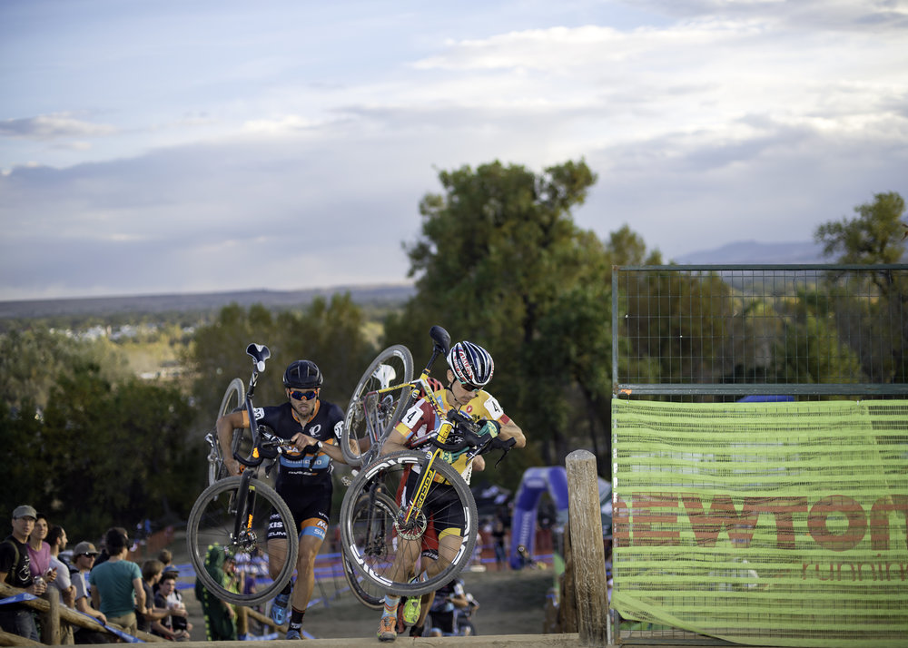 Allen Krugoff leads Danny Summerhill at the top of The Belgian Stairs. Valmont Bike Park. Boulder, CO.
