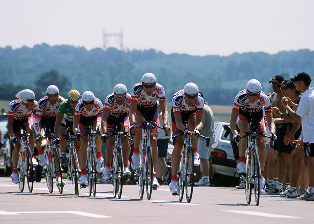The Lotto team during the Team Time Trial at The Tour De France. Shot on film.