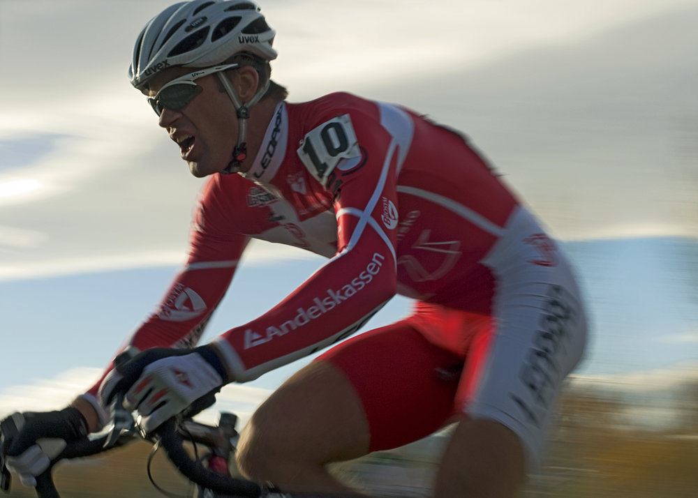 Danish National Cyclocross Champion Joachim Parbo at speed.