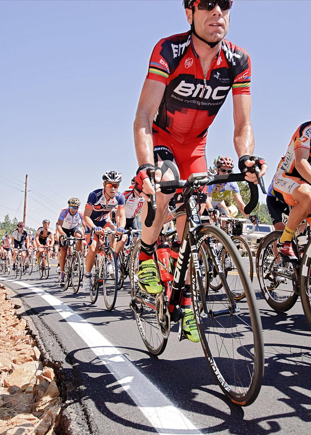 Cadel Evans and the peloton climbing Boulder Canyon during the Tour of Colorado. Nederland, CO