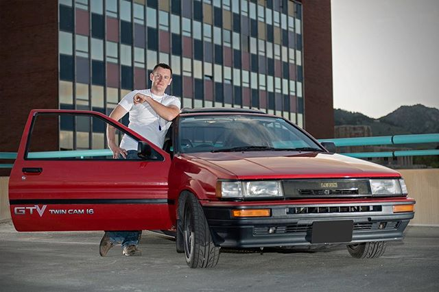 Nathan and his right-hand-drive Toyota AE86 that he imported from Japan! . Location portrait taken on top of a parking garage in Boulder, CO. . © Robert D. Jones 2019 . . #toyota86 #toyotaae86 #ae86 #86 #cars #carphotography #carphotographer #nikon #nikond800 #rdjonesphoto #advertisingphotography #advertisingphotographer #commercialphotographer #commercialphotography #editorial #editorialphotographer #entrepreneur #creative #creativity #hireme