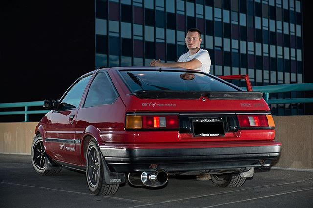 Another favorite of Nathan and his right-hand-drive Toyota AE86 that he imported from Japan! . Location portrait taken on top of a parking garage in Boulder, CO. . © Robert D. Jones 2019 . . #toyota86 #toyotaae86 #ae86 #86 #cars #carphotography #carphotographer #nikon #nikond800 #rdjonesphoto #advertisingphotography #advertisingphotographer #commercialphotographer #commercialphotography #editorial #editorialphotographer #entrepreneur #creative #creativity #hireme