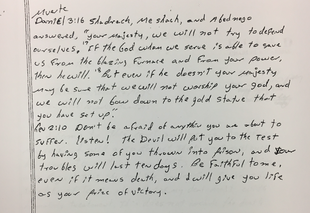 Letter Angel Resendiz wrote someone from death row - details his fixation with religion. From court records.