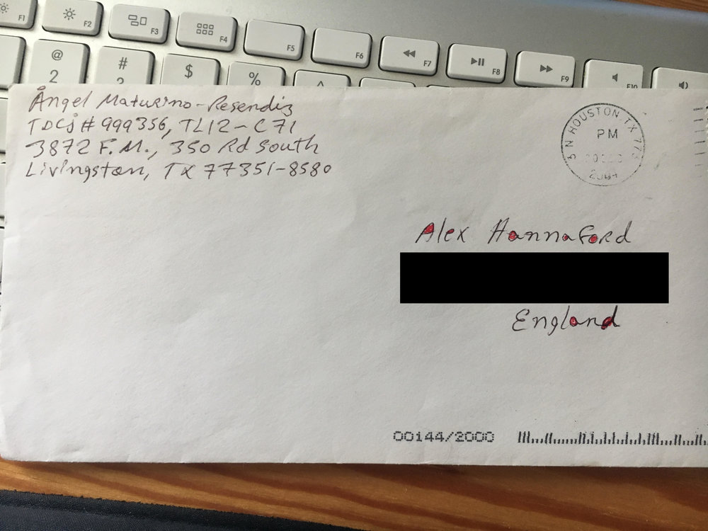 Envelope from letter Alex received from Angel Resendiz while he was on death row