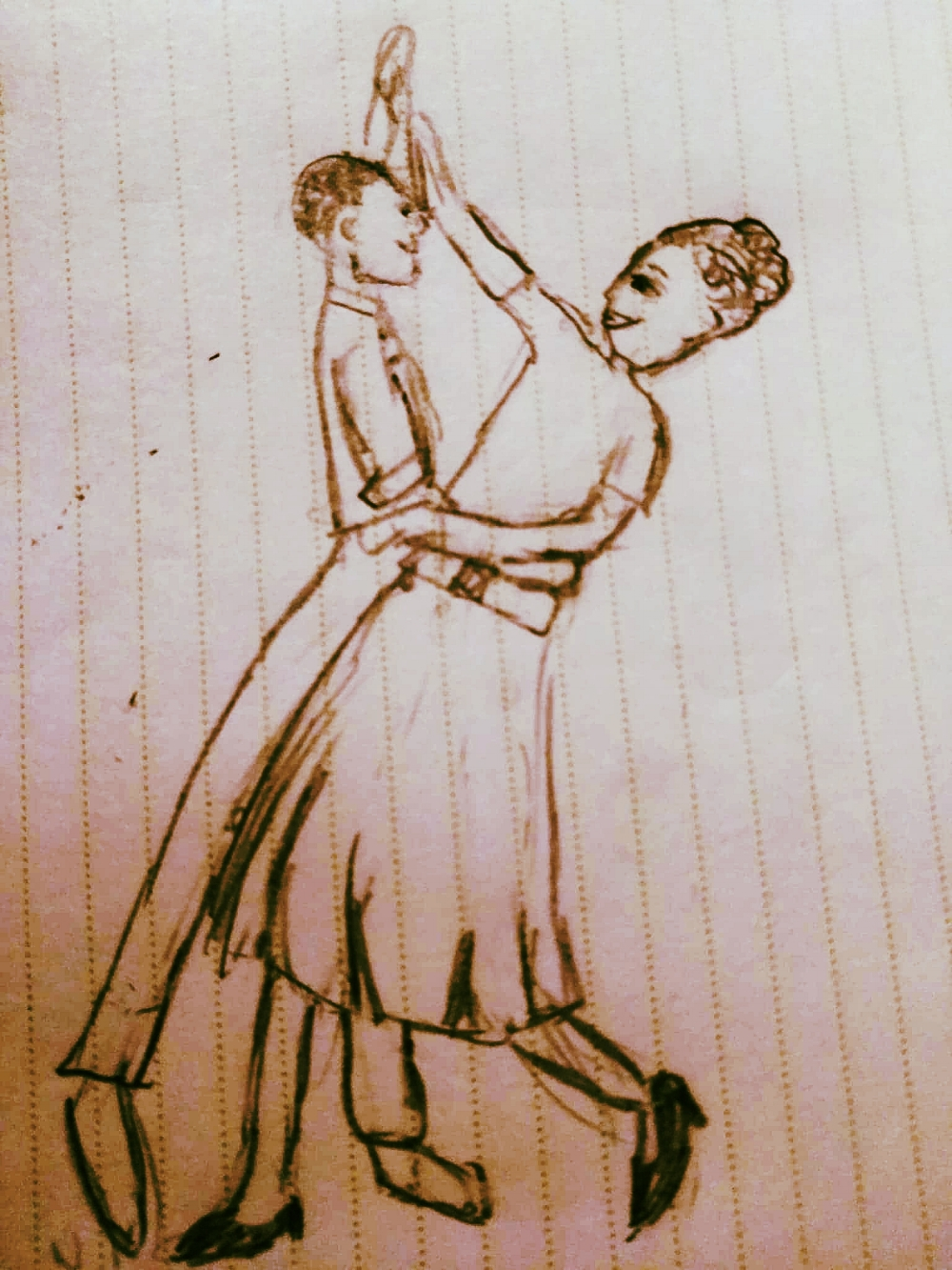My interpretation of a young Rick and Joan dancing. I asked if they were ever nervous to dance together, and both told me they were too focused on the steps to be nervous!