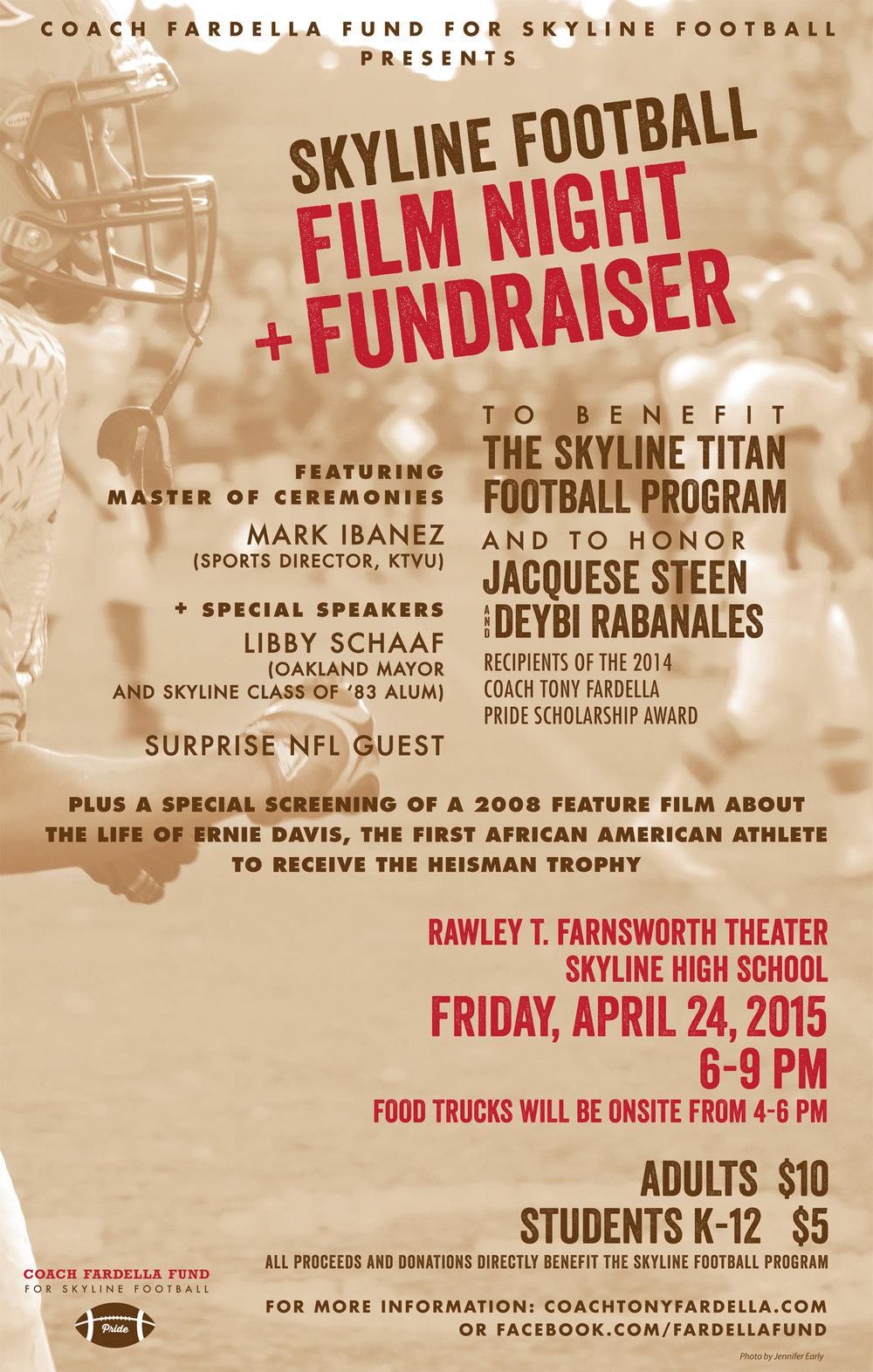 Skyline High School Football Program Fundraising Event Poster