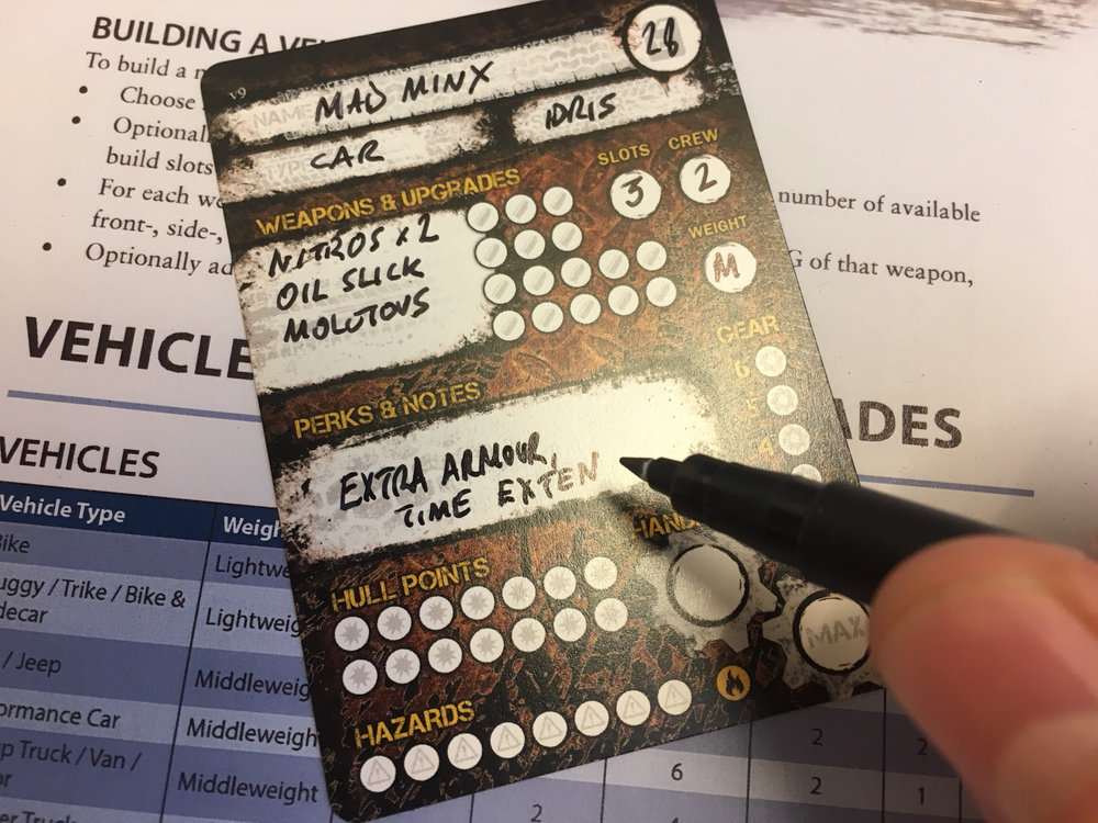 FILL IN A CARD - Each card has space for all of the vehicle's stats, weapons and upgrades.