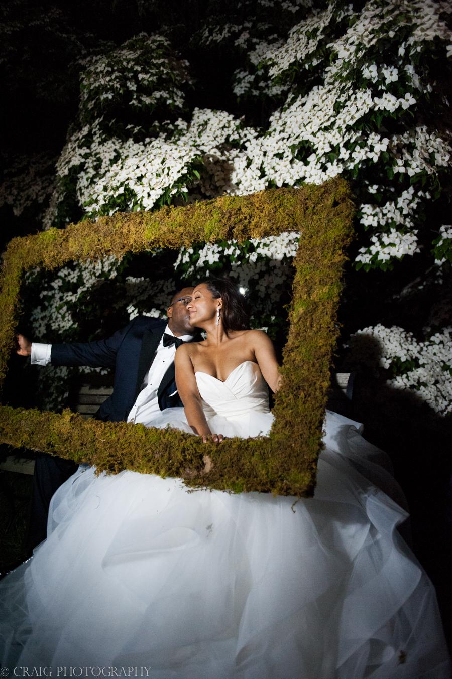 Phipps Conseratory Weddings | Wedding Photo Booth Homemade Moss Frame-0014