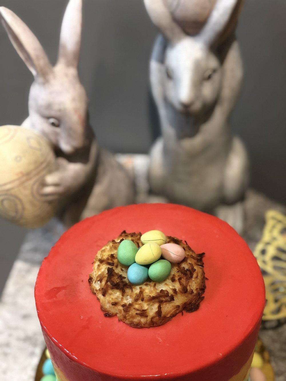 Rainbow Cake w/ Coconut Macaroon Nest