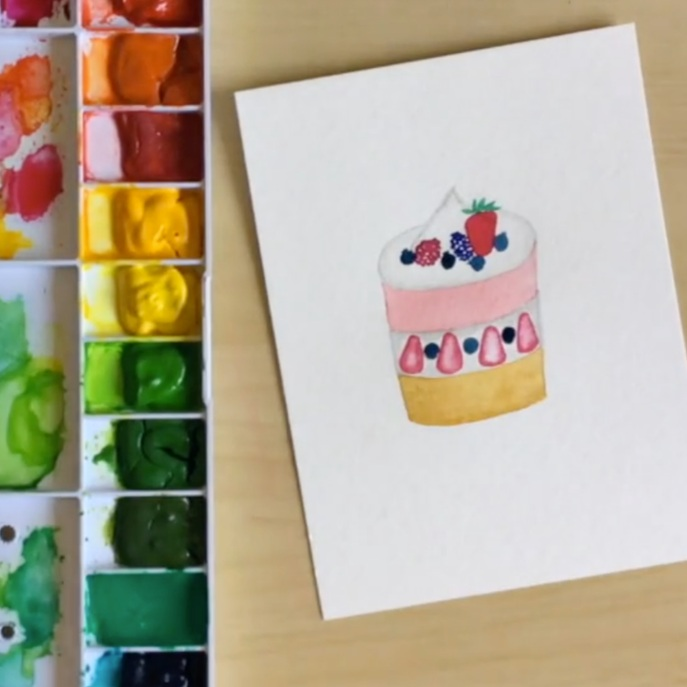 Watercoloring Fun With Food - JaneMade by Jane for Yu