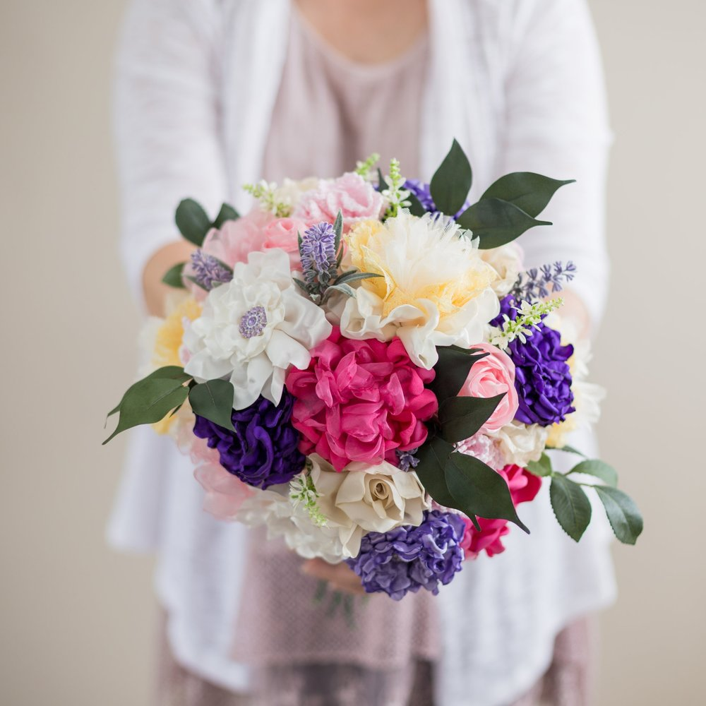 One-of-a-Kind - Every Petal and Thread arrangement is uniquely handcrafted. Each bouquet has it's own personality, and like real flowers, no two are ever quite the same.