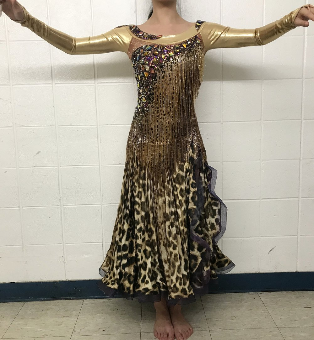 6daf4c476 Gold Leopard-Print Standard Dress — Columbia University Ballroom
