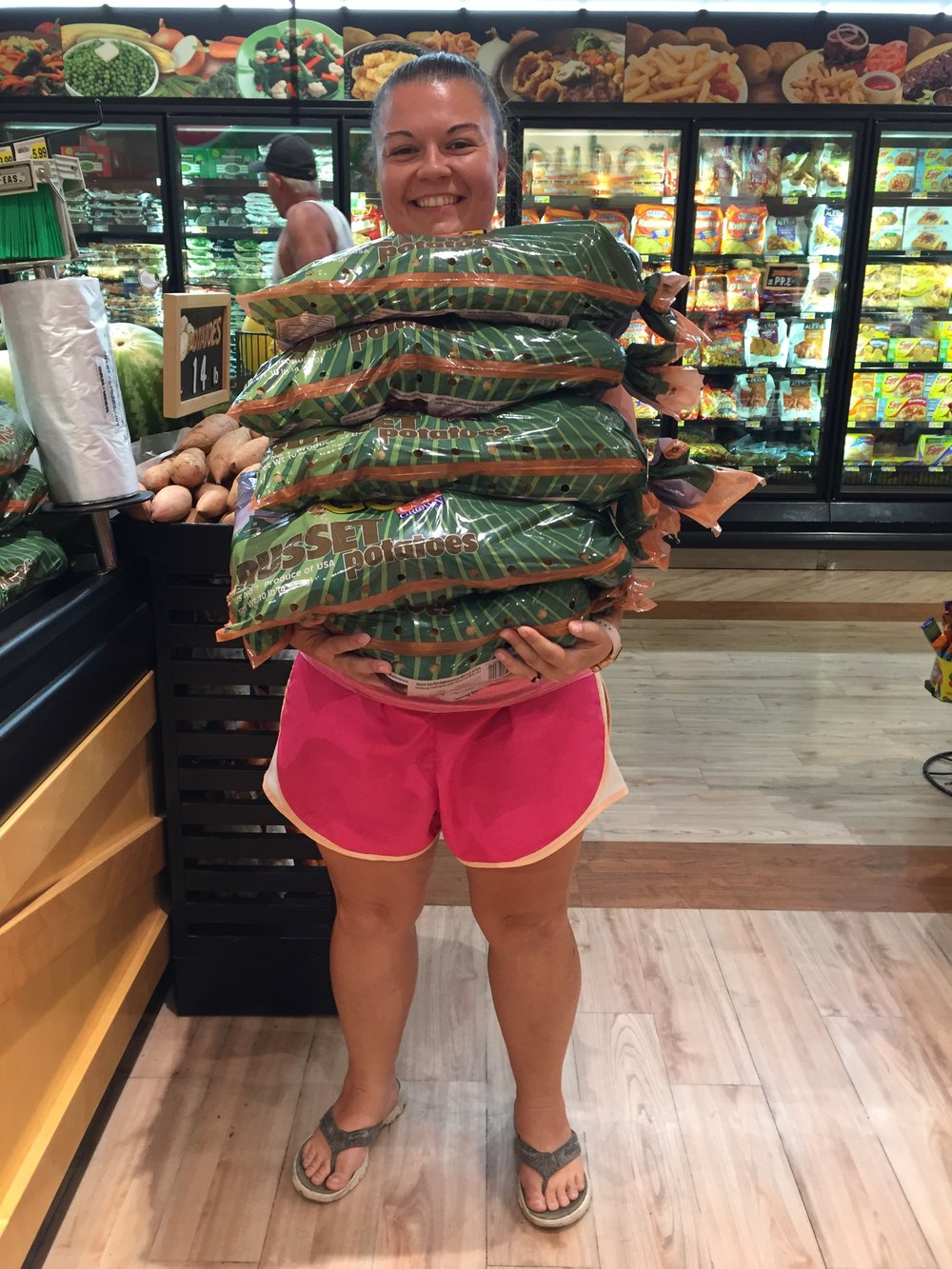 Celebrating the 50 pound mark! That's a lot of potatoes!