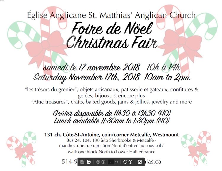 Christmas Fair — St  Matthias' Anglican Church