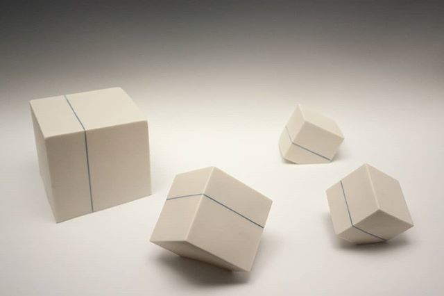 Planar Intersections.  Some new porcelain cubes for your viewing pleasure. . . . #ceramics #ceramicsculpture #porcelain #cubes #art #contemporaryceramics #contemporaryart #sculpture #contemporarysculpture #minimalism #geometric #geometricart