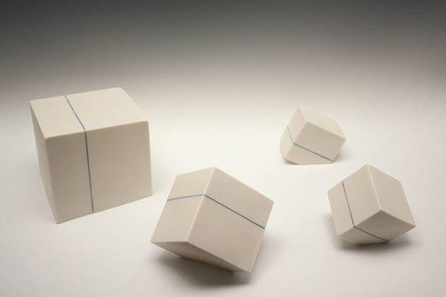 Planar Intersections.  Some new porcelain cubes for your viewing pleasure. . . . #ceramics #ceramicsculpture #porcelain #cubes #art #contemporaryceramics #contemporaryart #sculpture #contemporarysculpture #minimalism #geometric #geometricart