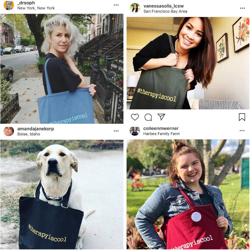 #therapyiscool totes have been shipped and people are turning to social media to post their pictures, letting the world know that that they are ACTIVELY fighting against mental health stigma!    San Francisco, CA // New York, NY // Boise, ID // Mattituck, NY