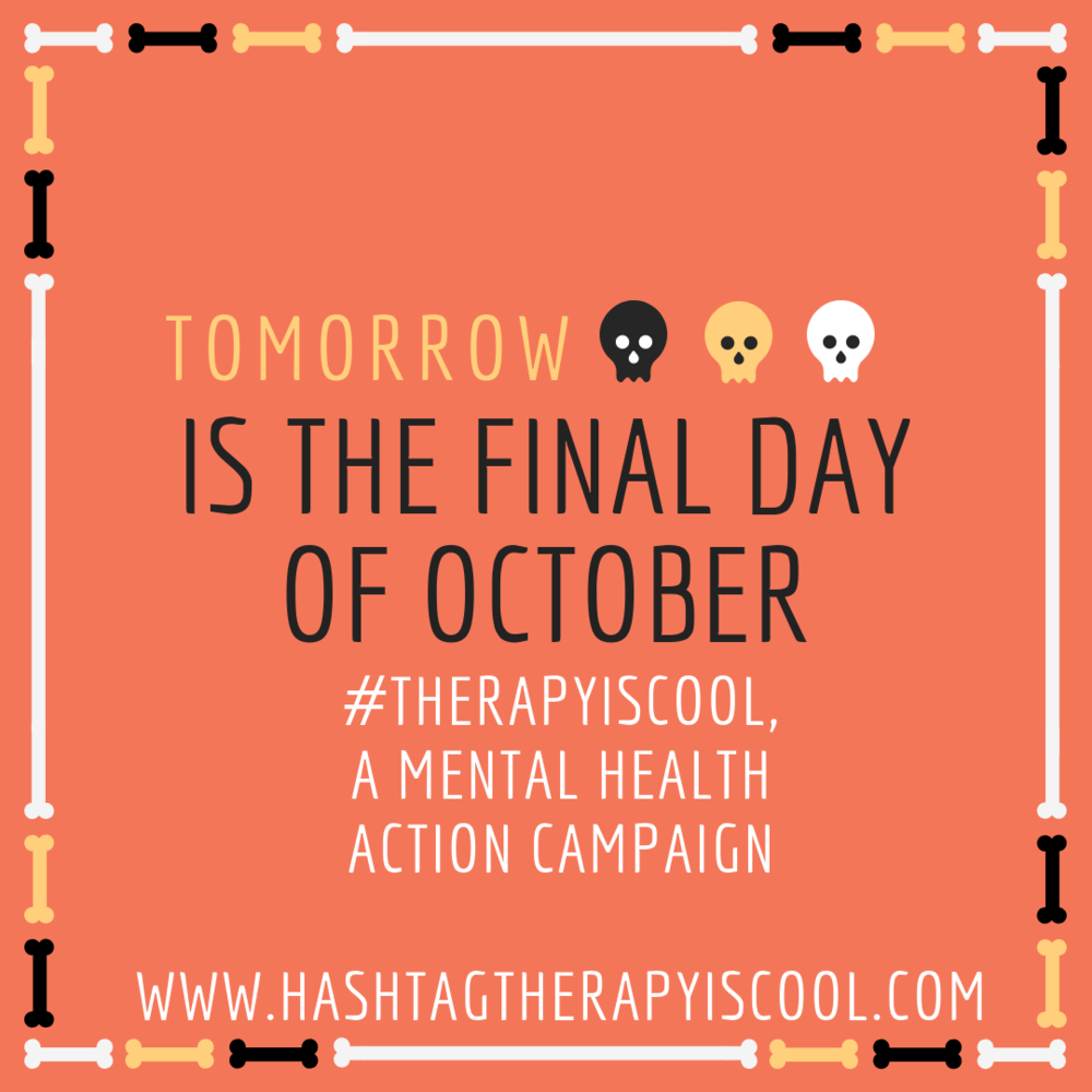 👻 OCTOBER 🎃    Tomorrow is the LAST day of month, meaning that the    #therapyiscool    mental health action campaign is hitting the road for the month of November.    To guarantee your $ is going to the SF Bay Area community (Alameda Family Services), be sure to purchase your #therapyiscool tote prior to midnight (PST) on the 31st.    Hint on our next location: We are not heading west 🌊 😉 🚘