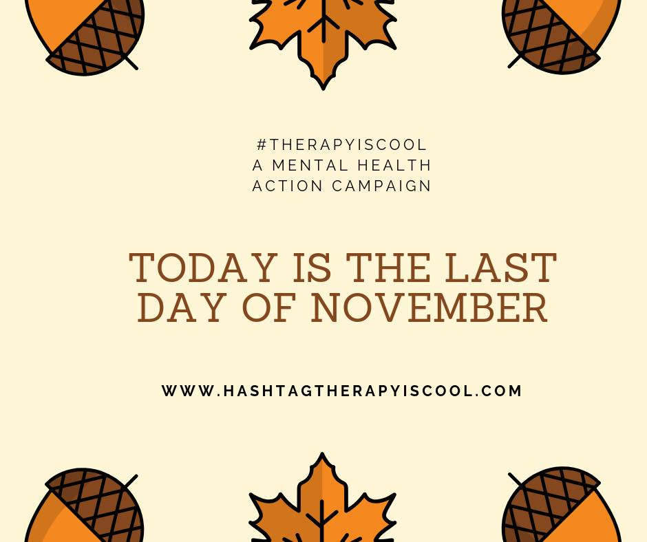 🍁 NOVEMBER 🍁 Today is the LAST day of month, meaning that the    #therapyiscool    mental health action campaign is back on the road for the month of December.  To guarantee your $ is going to mental health services for the community of Delaware (Survivors of Abuse in Recovery), be sure to purchase your #therapyiscool tote prior to midnight (PST) on the 30th.  Hint on our next location: We are taking a plane west ✈️