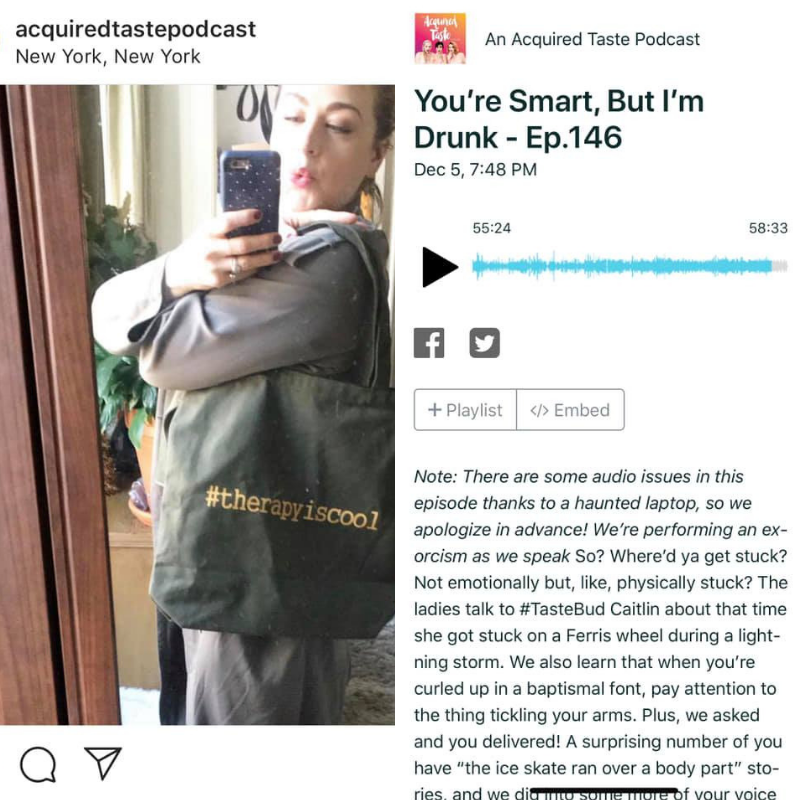 We are unbelievably honored to be featured on the An Acquired Taste Podcast!!! Thank you ladies for being awesome mental health advocates! ♥ Click here to listen to the podcast,    https://audioboom.com/…/7108917-you-re-smart-but-i-m-drunk-…    ➙    #therapyiscool    mental health action campaign is discussed at the 55 minute mark.