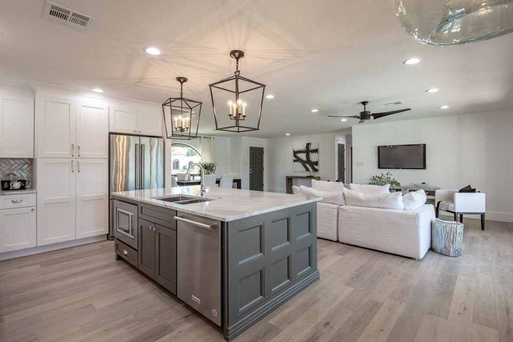 Kitchen island with two stylish hanging lights