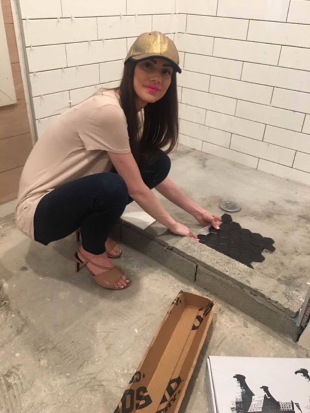 Woman working in room renovation