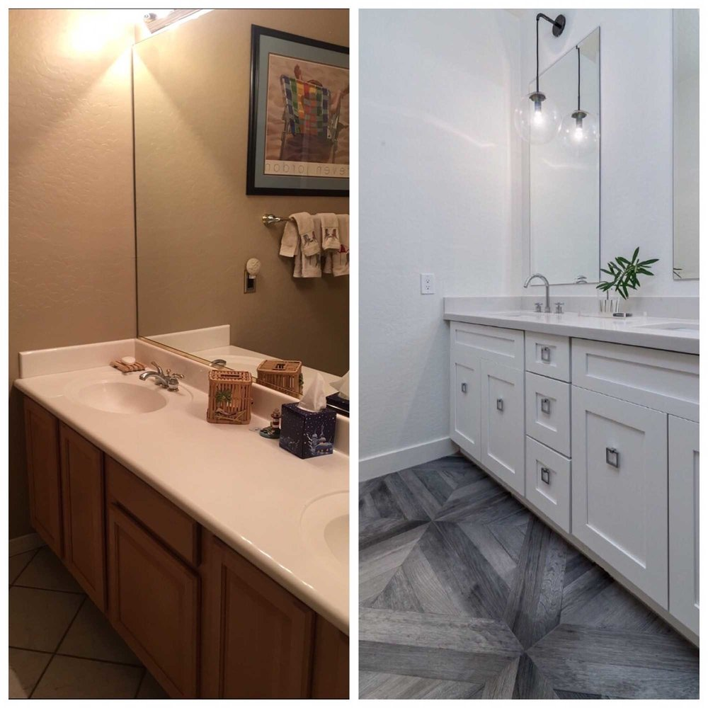 Before and after image of lavatories